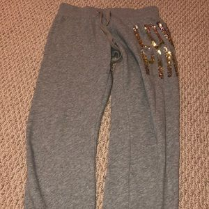 Grey Cropped Victoria Secret Pink Joggers